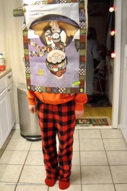 My sister wearing a giant gift bag