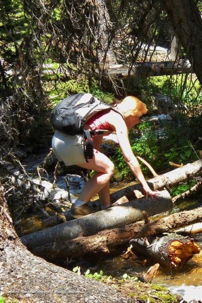Mom navigates a creek crossing
