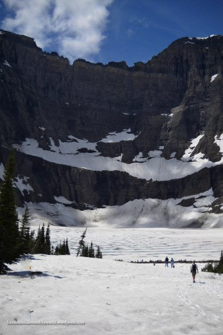 Snow-covered trail to Iceberg Lake - Glacier National Park, MT