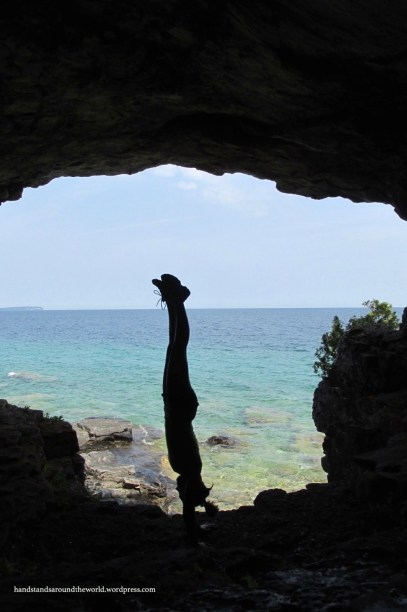 Cave handstand at Stormhaven - Bruce Peninsula National Park, ON (photo credit: Mom)