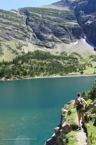 Hiking the trail around the lake – Waterton Lakes National Park, Alberta