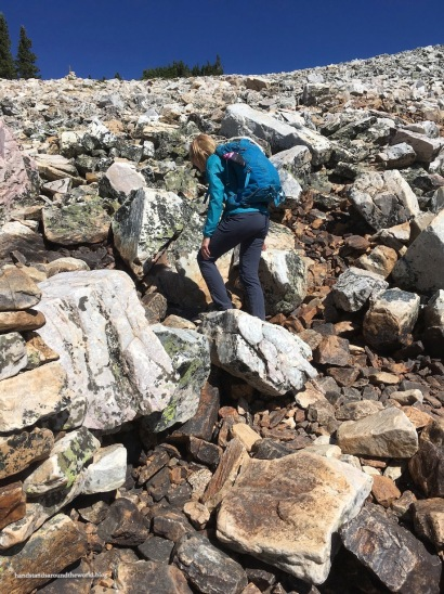 Mom navigates the talus